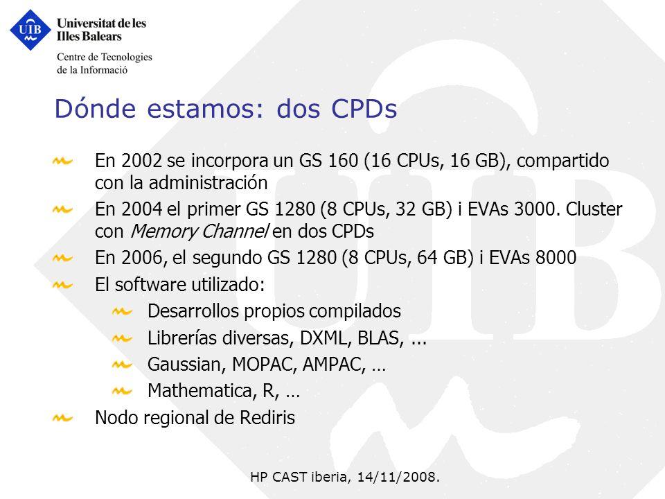 HP CAST iberia, 14/11/2008. Dónde estamos: dos CPDs En 2002 se incorpora un GS 160 (16 CPUs, 16 GB), compartido con la administración En 2004 el prime