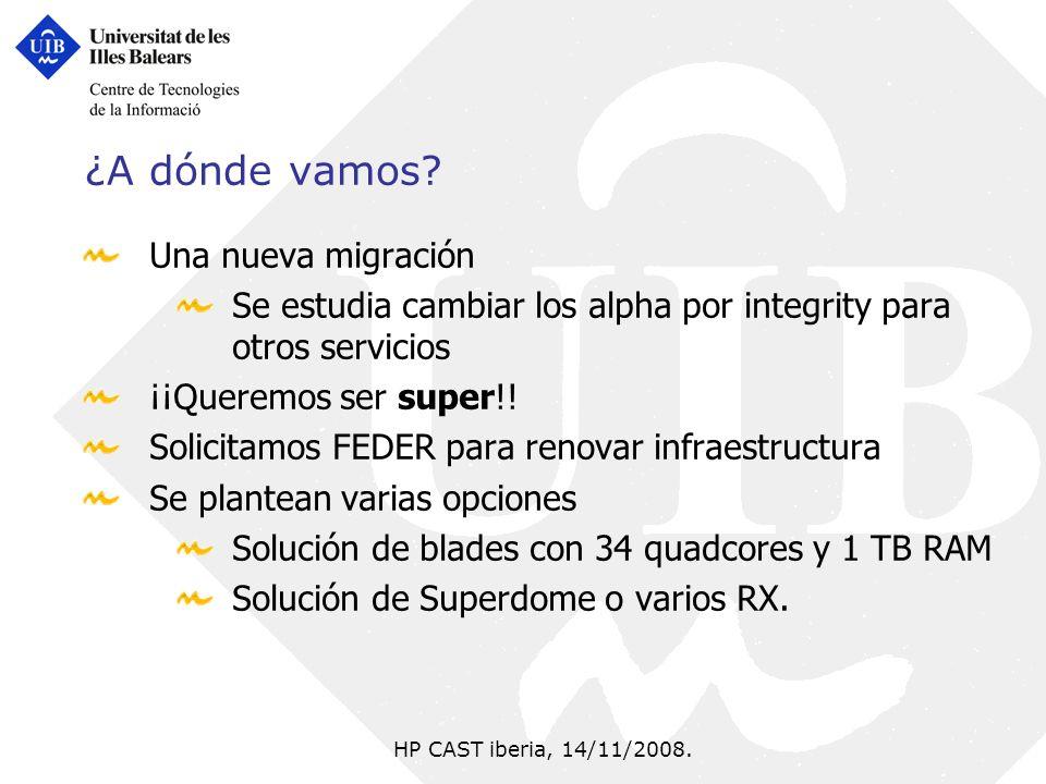HP CAST iberia, 14/11/2008. ¿A dónde vamos? Una nueva migración Se estudia cambiar los alpha por integrity para otros servicios ¡¡Queremos ser super!!
