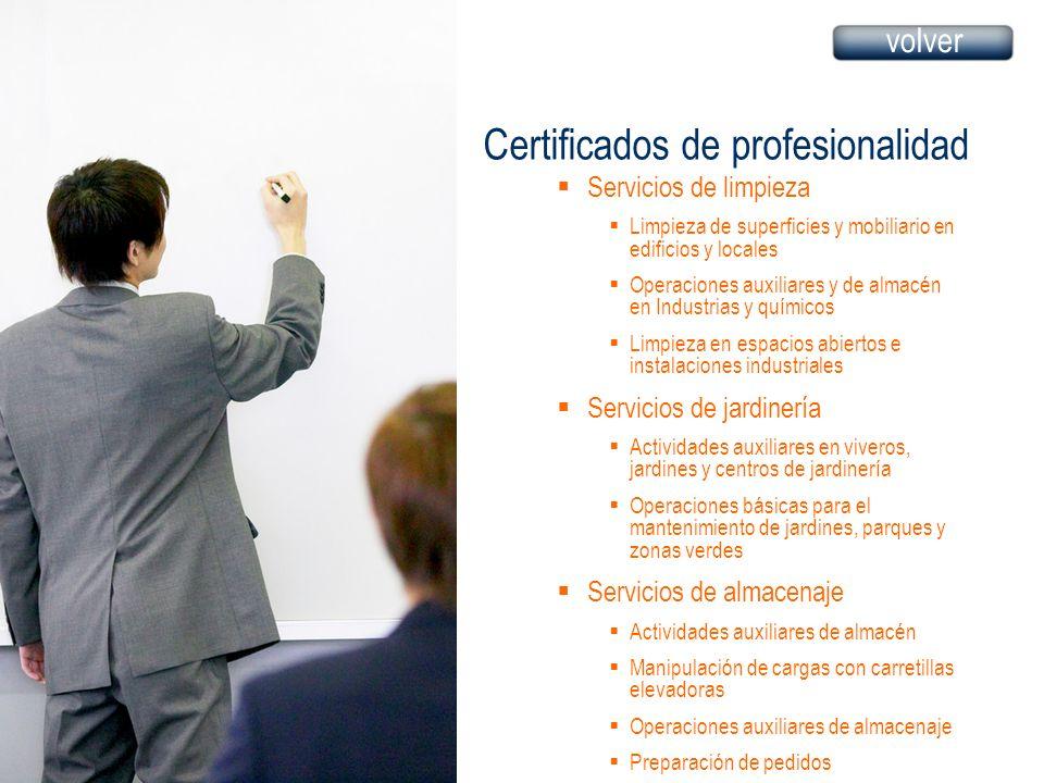 Certificados de profesionalidad Servicios de limpieza Limpieza de superficies y mobiliario en edificios y locales Operaciones auxiliares y de almacén
