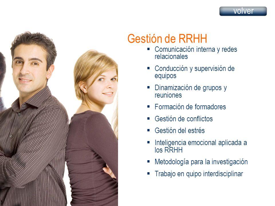 Gestión de RRHH Comunicación interna y redes relacionales Conducción y supervisión de equipos Dinamización de grupos y reuniones Formación de formadores Gestión de conflictos Gestión del estrés Inteligencia emocional aplicada a los RRHH Metodología para la investigación Trabajo en quipo interdisciplinar volver