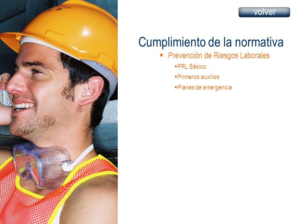 Cumplimiento de la normativa Prevención de Riesgos Laborales PRL Básico Primeros auxilios Planes de emergencia volver