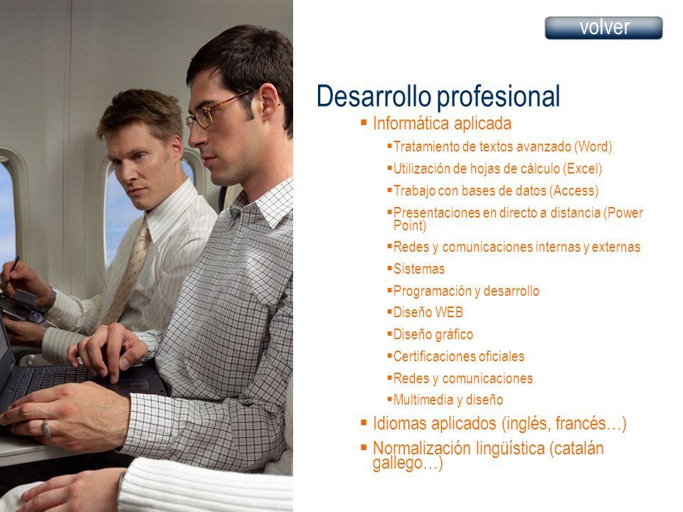 Desarrollo profesional Informática aplicada Tratamiento de textos avanzado (Word) Utilización de hojas de cálculo (Excel) Trabajo con bases de datos (
