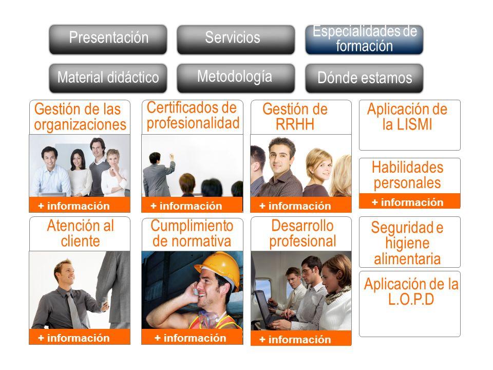 Presentación Actividades Especialidades de formación Dónde estamos Gestión de RRHH Aplicación de la LISMI Seguridad e higiene alimentaria Aplicación d