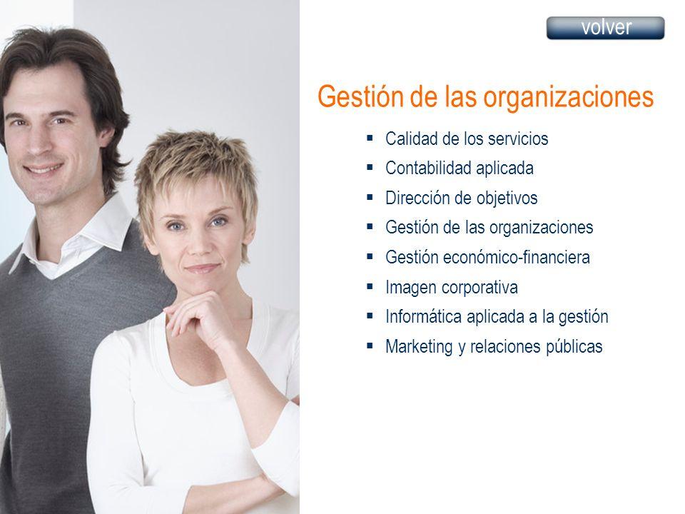 Gestión de las organizaciones Calidad de los servicios Contabilidad aplicada Dirección de objetivos Gestión de las organizaciones Gestión económico-fi