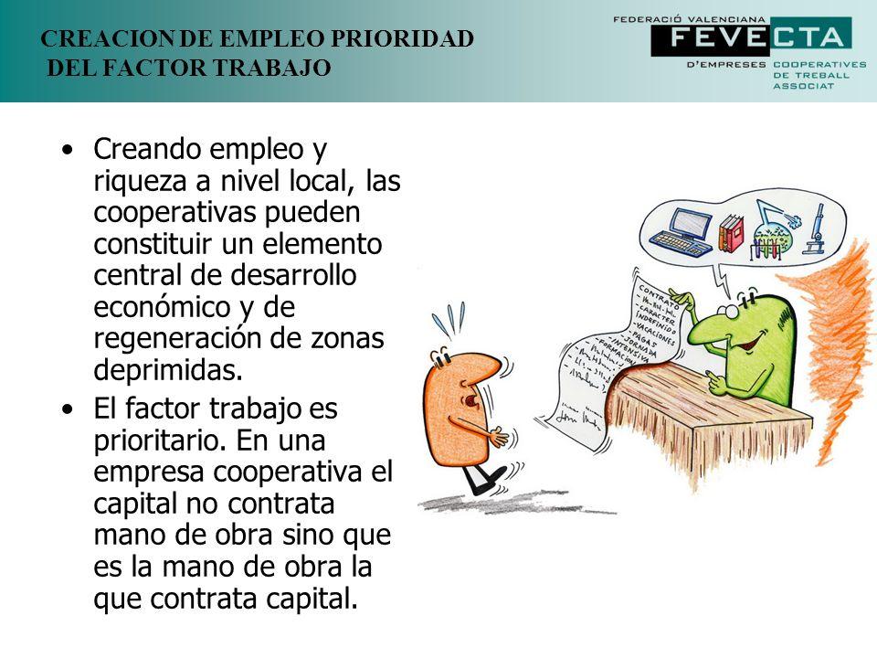 CREACION DE EMPLEO PRIORIDAD DEL FACTOR TRABAJO Creando empleo y riqueza a nivel local, las cooperativas pueden constituir un elemento central de desa