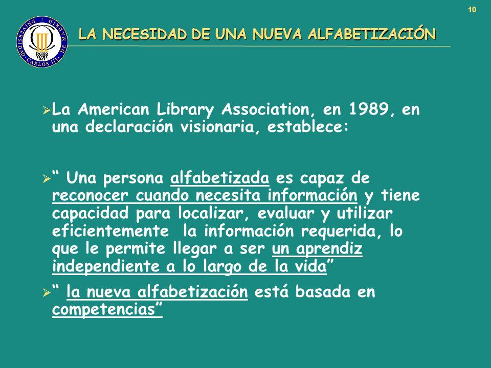 10 LA NECESIDAD DE UNA NUEVA ALFABETIZACIÓN LA NECESIDAD DE UNA NUEVA ALFABETIZACIÓN La American Library Association, en 1989, en una declaración visi