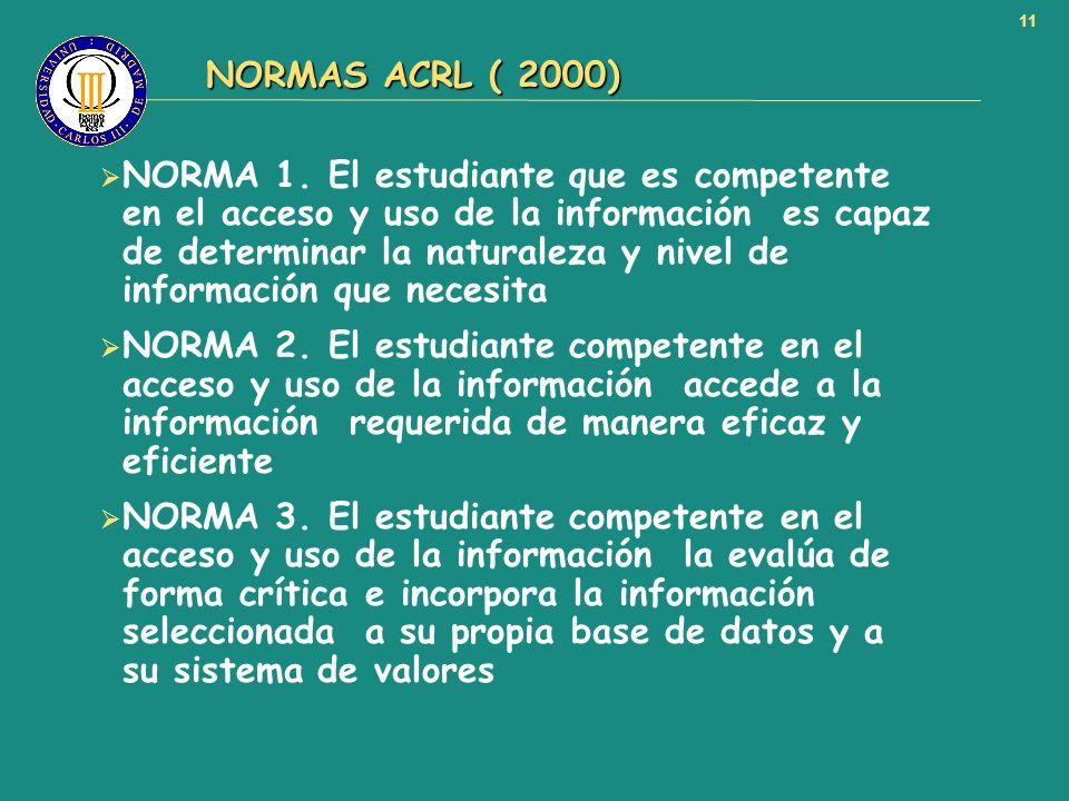11 NORMAS ACRL ( 2000) NORMAS ACRL ( 2000) NORMA 1. El estudiante que es competente en el acceso y uso de la información es capaz de determinar la nat