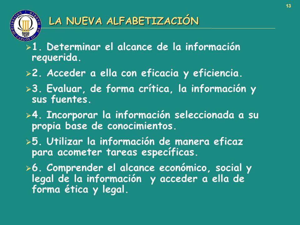 13 LA NUEVA ALFABETIZACIÓN LA NUEVA ALFABETIZACIÓN 1. Determinar el alcance de la información requerida. 2. Acceder a ella con eficacia y eficiencia.