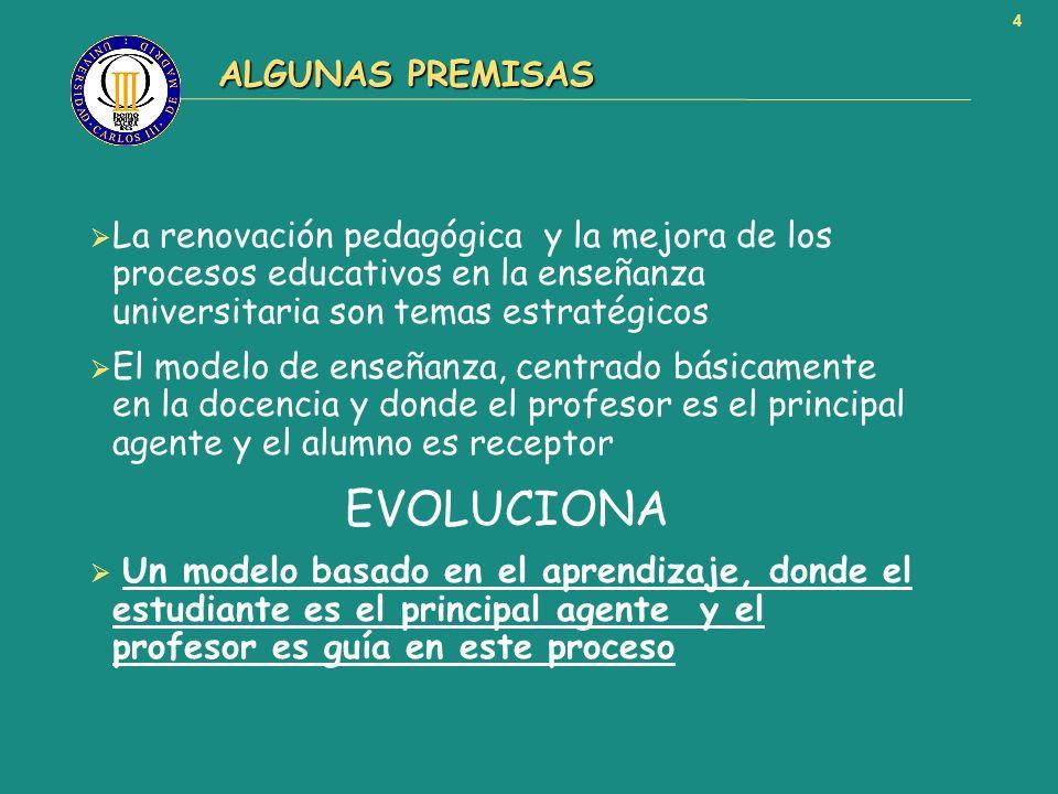 4 ALGUNAS PREMISAS ALGUNAS PREMISAS La renovación pedagógica y la mejora de los procesos educativos en la enseñanza universitaria son temas estratégic