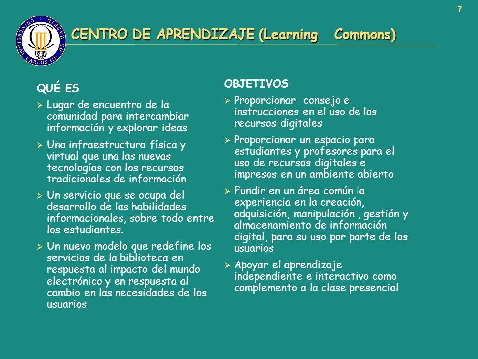 7 CENTRO DE APRENDIZAJE (Learning Commons) CENTRO DE APRENDIZAJE (Learning Commons) QUÉ ES Lugar de encuentro de la comunidad para intercambiar inform