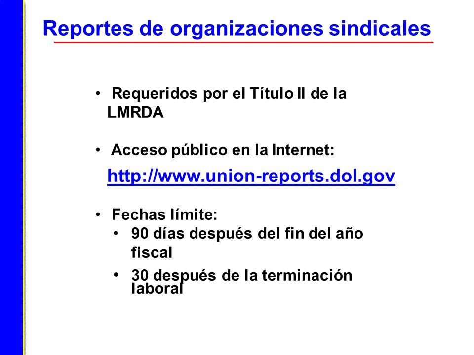 Reportes de organizaciones sindicales Requeridos por el Título II de la LMRDA Acceso público en la Internet: http://www.union-reports.dol.gov Fechas l