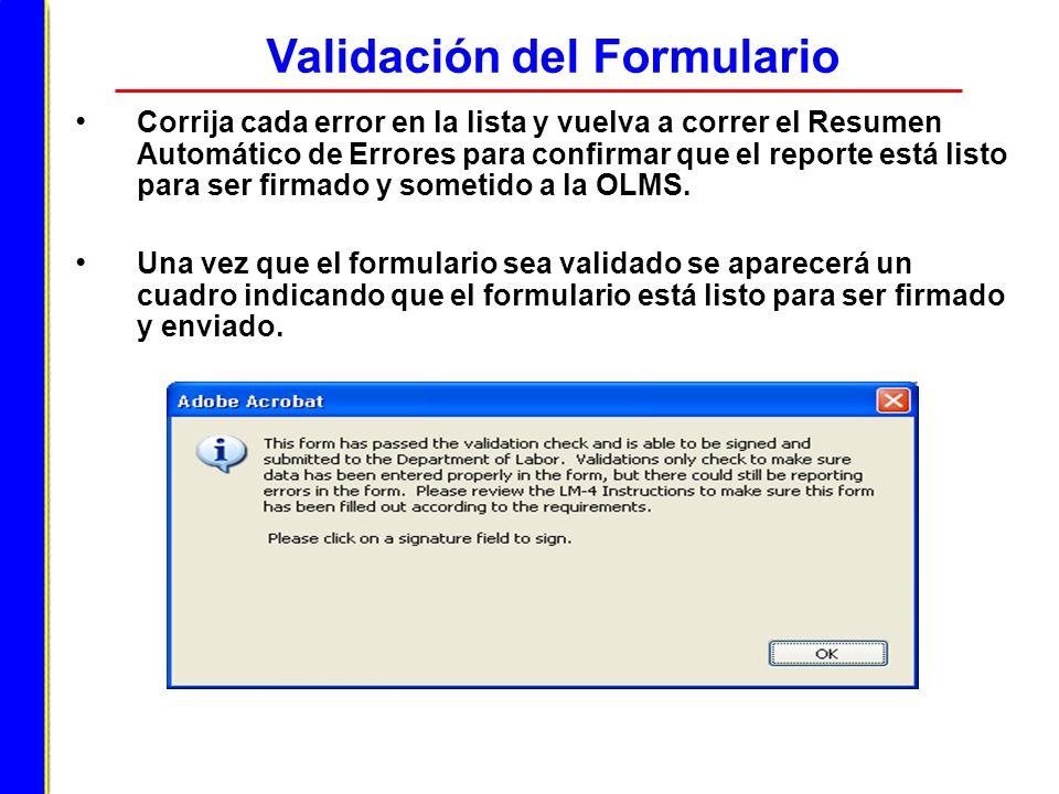 Corrija cada error en la lista y vuelva a correr el Resumen Automático de Errores para confirmar que el reporte está listo para ser firmado y sometido
