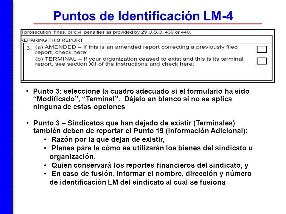 Puntos de Identificación LM-4 Punto 3: seleccione la cuadro adecuado si el formulario ha sido Modificado, Terminal. Déjelo en blanco si no se aplica n
