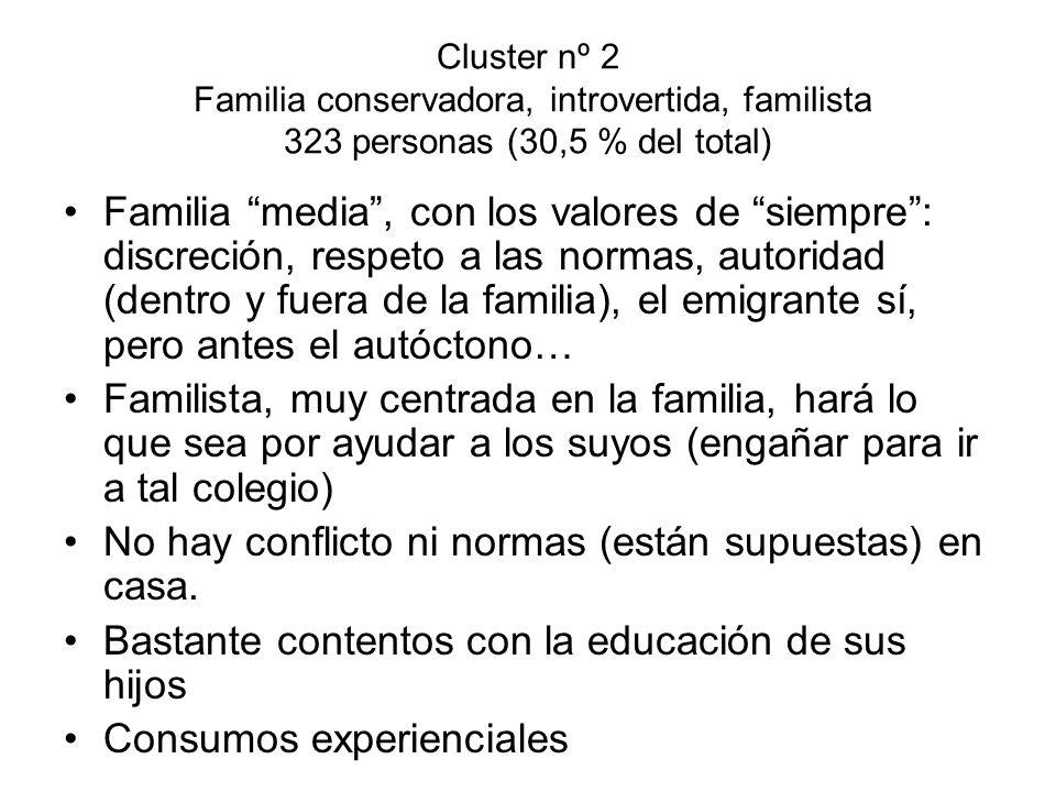 Cluster nº 2 Familia conservadora, introvertida, familista 323 personas (30,5 % del total) Familia media, con los valores de siempre: discreción, resp
