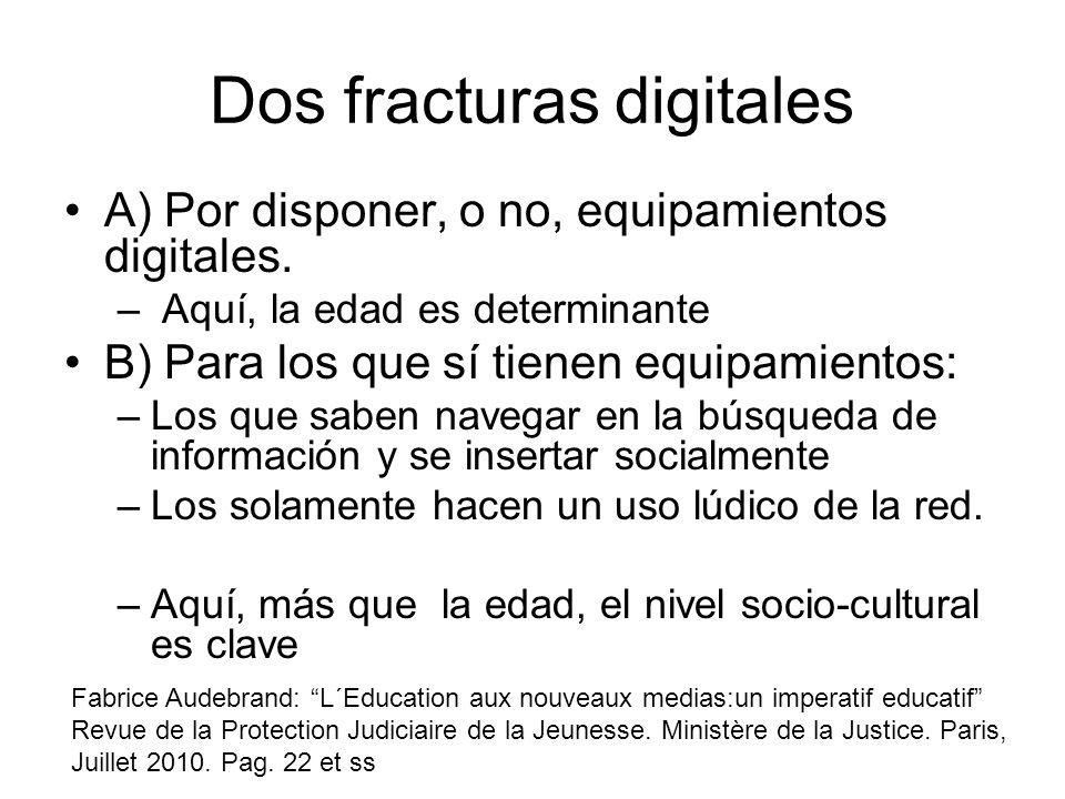 Dos fracturas digitales A) Por disponer, o no, equipamientos digitales. – Aquí, la edad es determinante B) Para los que sí tienen equipamientos: –Los