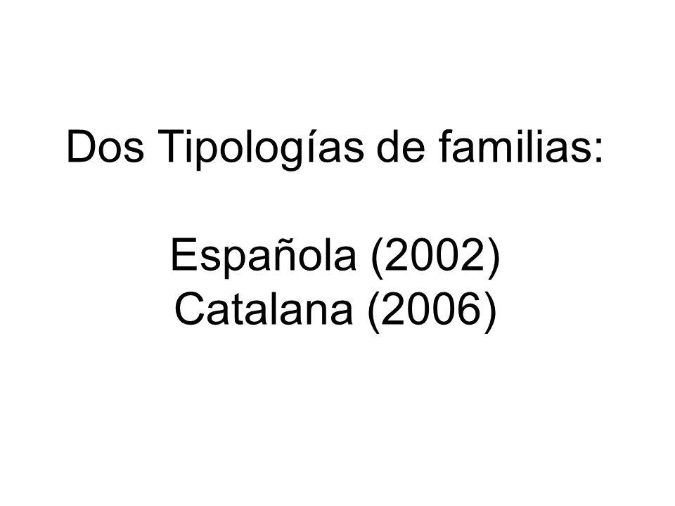 Dos Tipologías de familias: Española (2002) Catalana (2006)