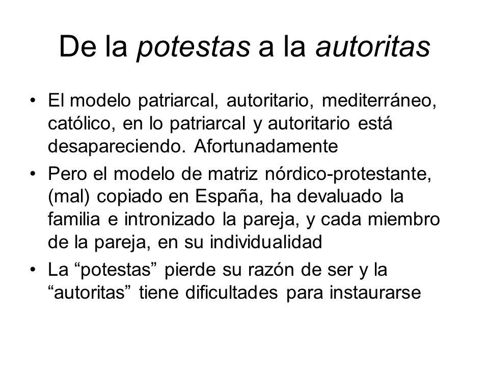 De la potestas a la autoritas El modelo patriarcal, autoritario, mediterráneo, católico, en lo patriarcal y autoritario está desapareciendo. Afortunad