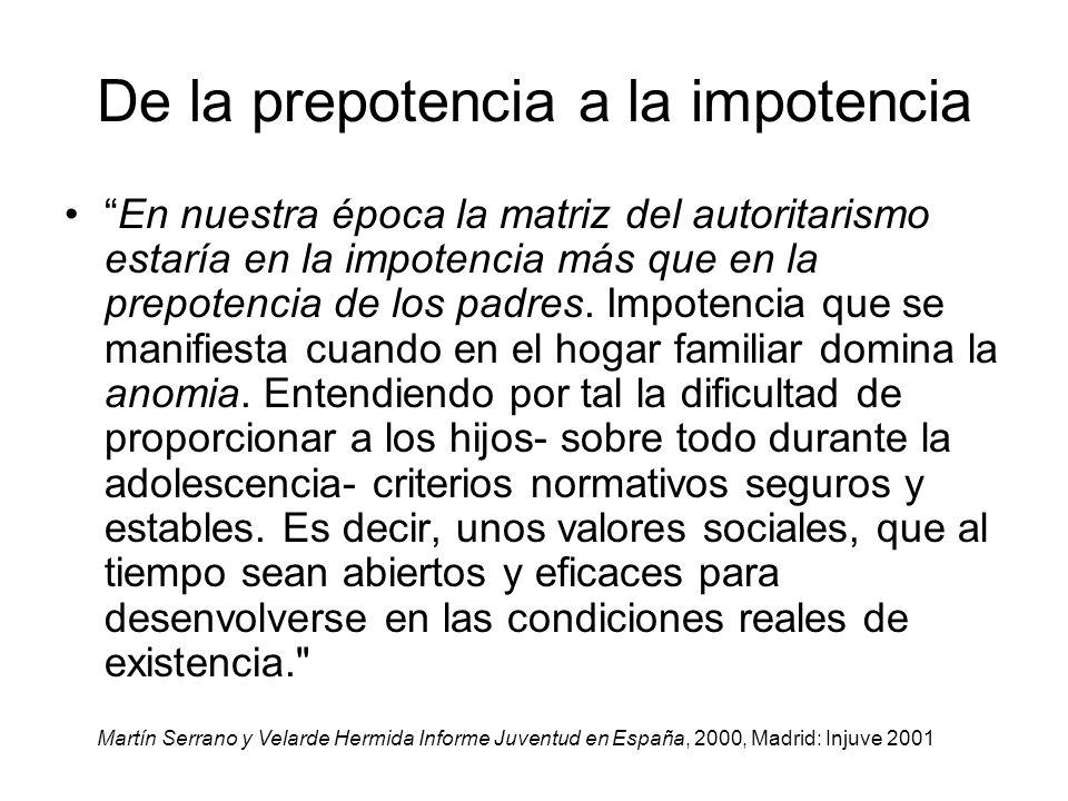 De la prepotencia a la impotencia En nuestra época la matriz del autoritarismo estaría en la impotencia más que en la prepotencia de los padres. Impot