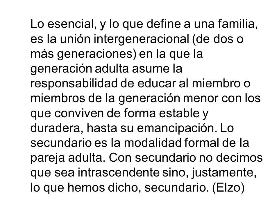 Lo esencial, y lo que define a una familia, es la unión intergeneracional (de dos o más generaciones) en la que la generación adulta asume la responsa