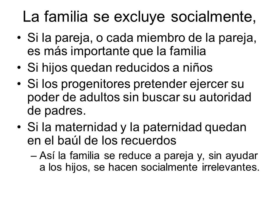 La familia se excluye socialmente, Si la pareja, o cada miembro de la pareja, es más importante que la familia Si hijos quedan reducidos a niños Si lo