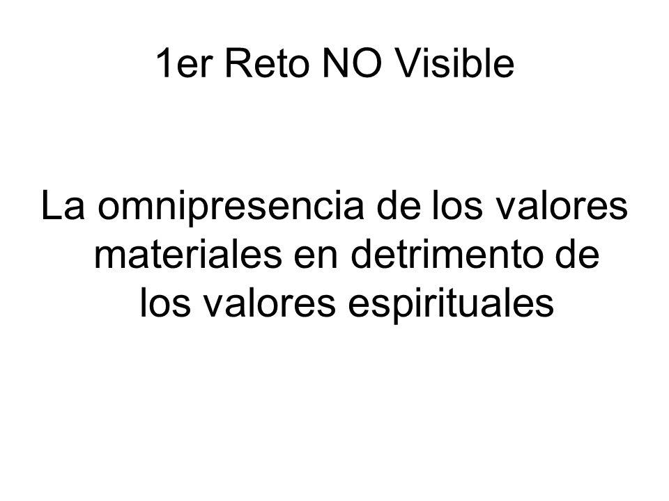1er Reto NO Visible La omnipresencia de los valores materiales en detrimento de los valores espirituales