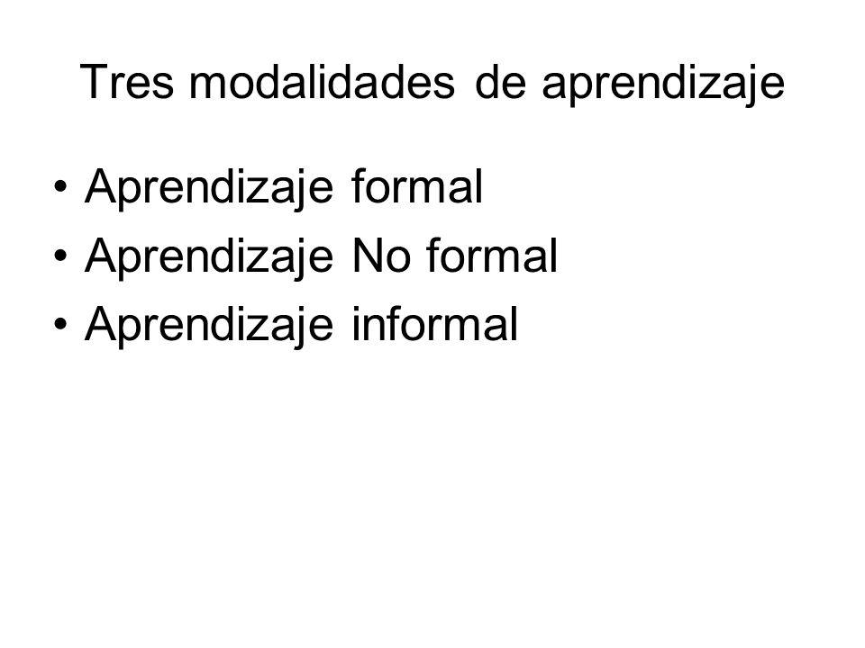 Tres modalidades de aprendizaje Aprendizaje formal Aprendizaje No formal Aprendizaje informal