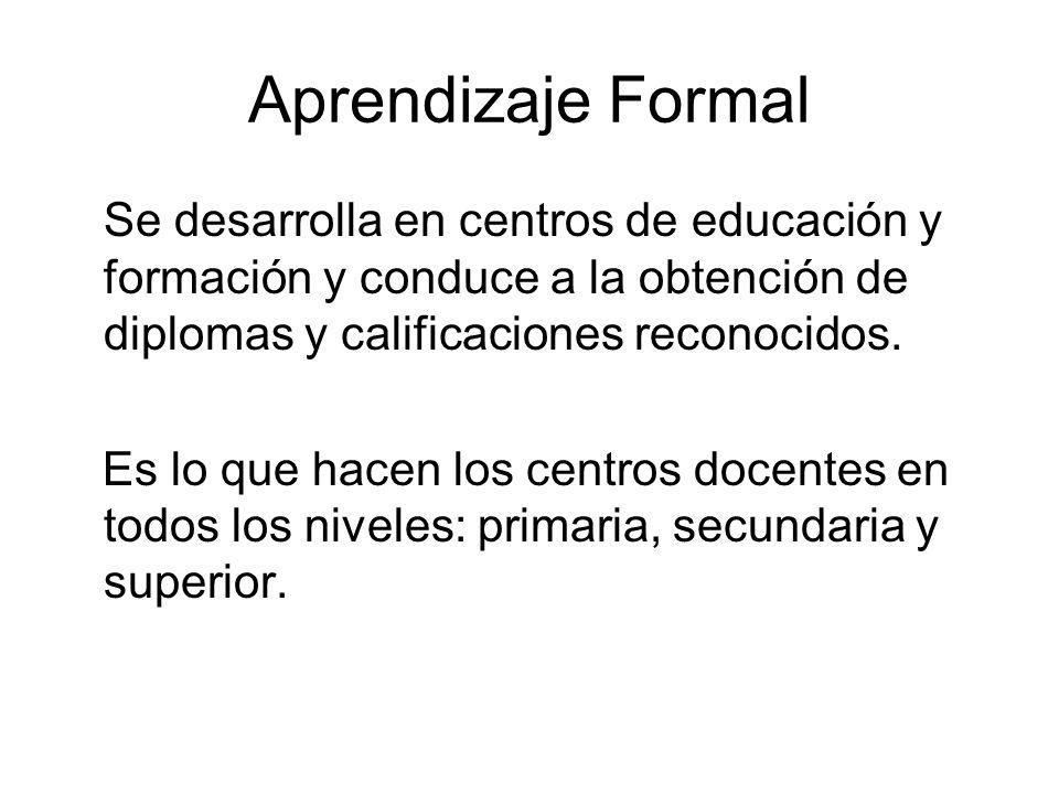 Aprendizaje Formal Se desarrolla en centros de educación y formación y conduce a la obtención de diplomas y calificaciones reconocidos. Es lo que hace