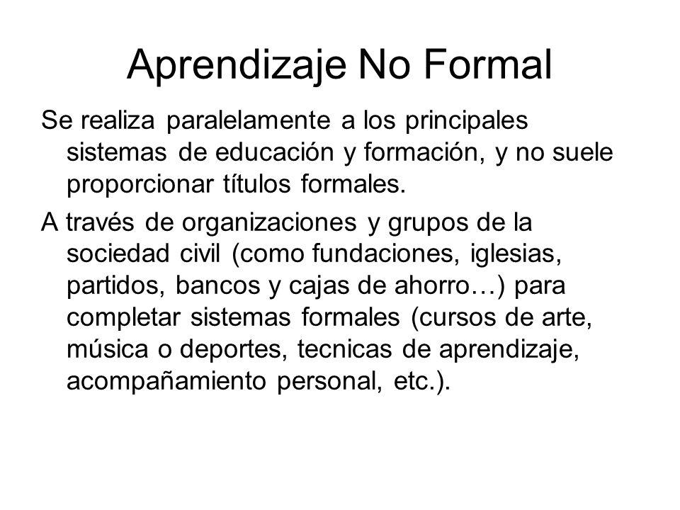 Aprendizaje No Formal Se realiza paralelamente a los principales sistemas de educación y formación, y no suele proporcionar títulos formales. A través