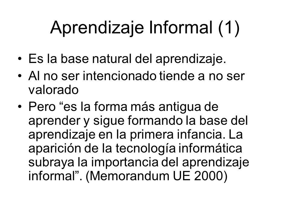 Aprendizaje Informal (1) Es la base natural del aprendizaje. Al no ser intencionado tiende a no ser valorado Pero es la forma más antigua de aprender