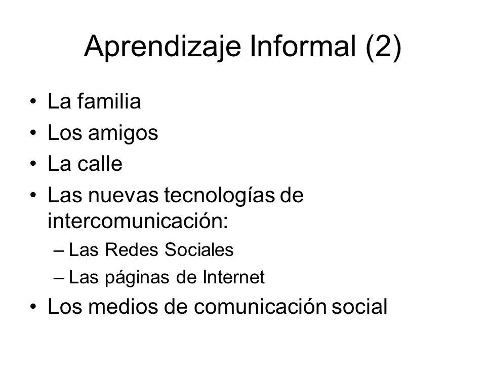 Aprendizaje Informal (2) La familia Los amigos La calle Las nuevas tecnologías de intercomunicación: –Las Redes Sociales –Las páginas de Internet Los