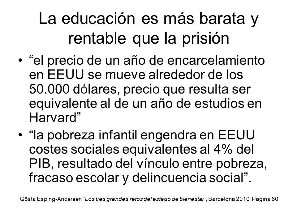 La educación es más barata y rentable que la prisión el precio de un año de encarcelamiento en EEUU se mueve alrededor de los 50.000 dólares, precio q