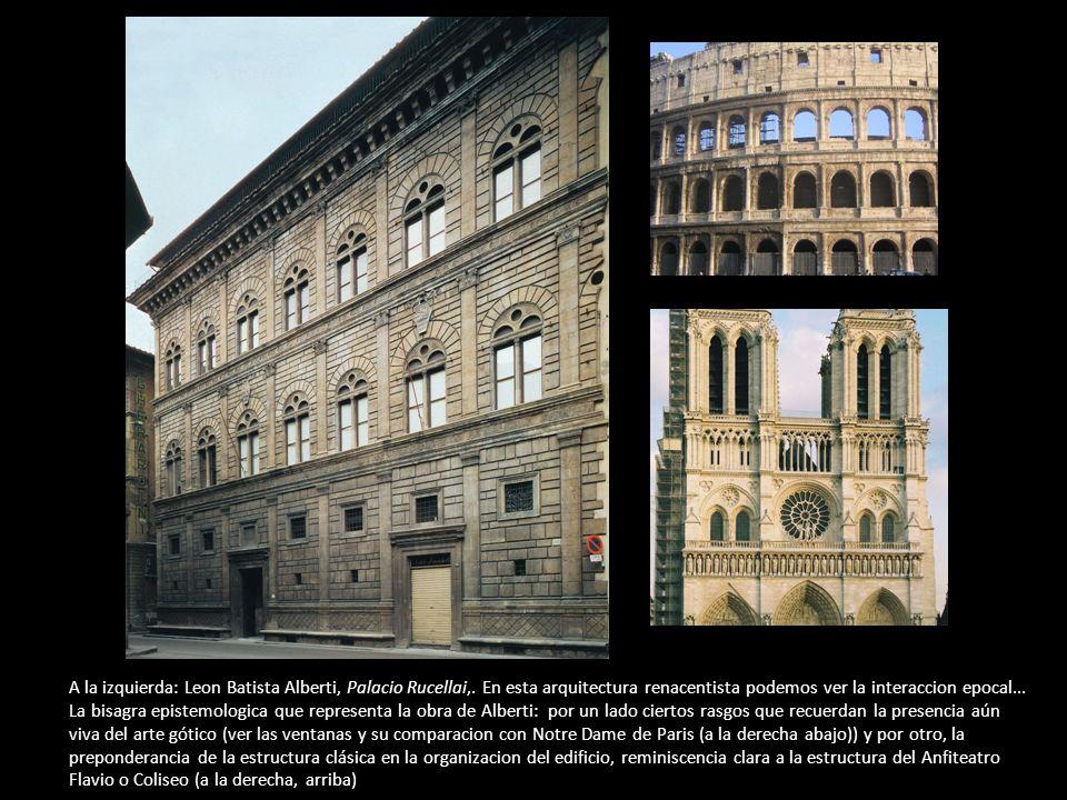A la izquierda: Leon Batista Alberti, Palacio Rucellai,. En esta arquitectura renacentista podemos ver la interaccion epocal... La bisagra epistemolog