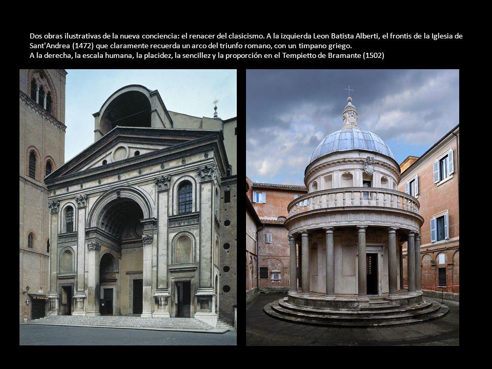 Dos obras ilustrativas de la nueva conciencia: el renacer del clasicismo. A la izquierda Leon Batista Alberti, el frontis de la Iglesia de Sant'Andrea