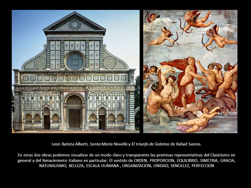 Leon Batista Alberti, Santa María Novella y El triunfo de Galatea de Rafael Sanzio. En estas dos obras podemos visualizar de un modo claro y transpare