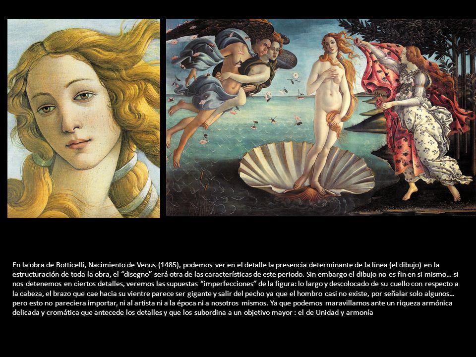 En la obra de Botticelli, Nacimiento de Venus (1485), podemos ver en el detalle la presencia determinante de la línea (el dibujo) en la estructuración