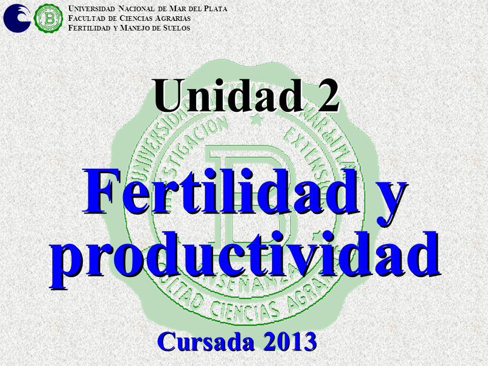 U NIVERSIDAD N ACIONAL DE M AR DEL P LATA F ACULTAD DE C IENCIAS A GRARIAS F ERTILIDAD Y M ANEJO DE S UELOS Unidad 2 Fertilidad y productividad Cursad