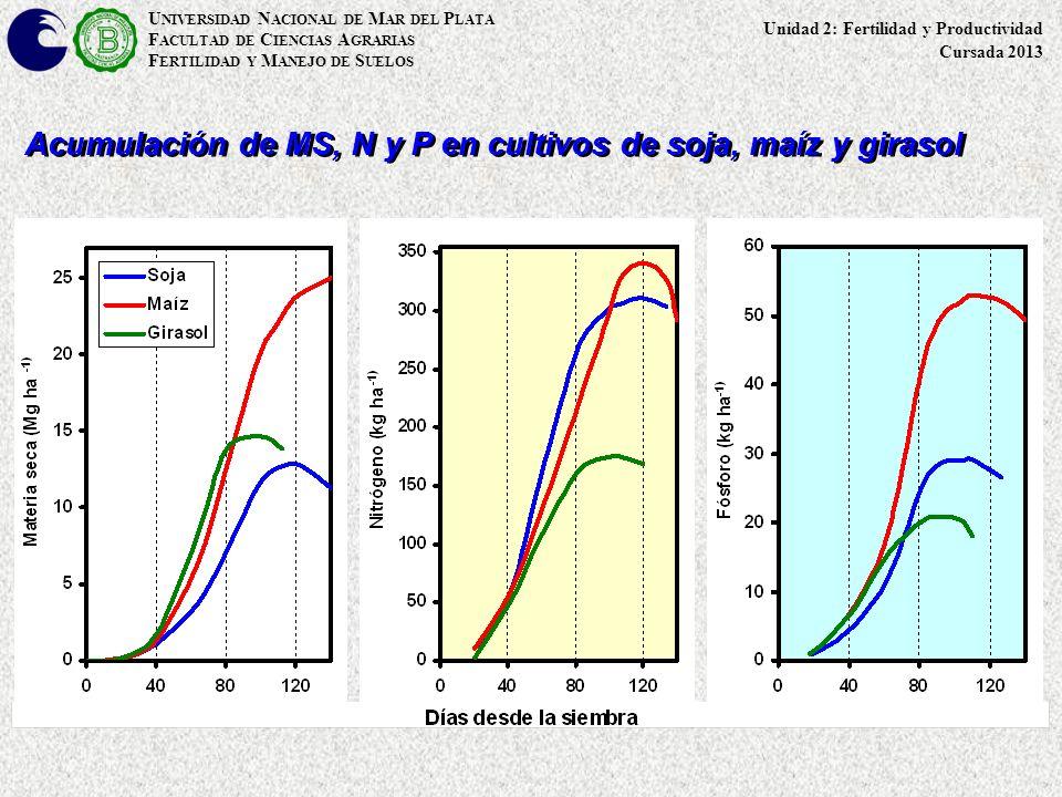 U NIVERSIDAD N ACIONAL DE M AR DEL P LATA F ACULTAD DE C IENCIAS A GRARIAS F ERTILIDAD Y M ANEJO DE S UELOS Acumulación de MS, N y P en cultivos de so
