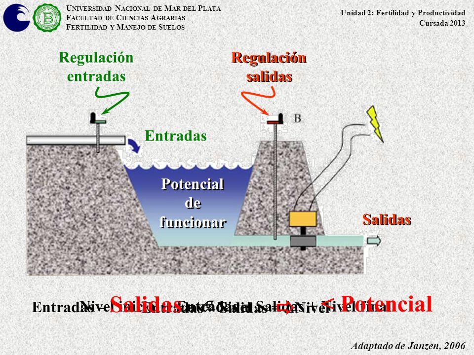 Adaptado de Janzen, 2006 Regulación entradas Salidas Entradas Regulación salidas Potencial de funcionar U NIVERSIDAD N ACIONAL DE M AR DEL P LATA F AC