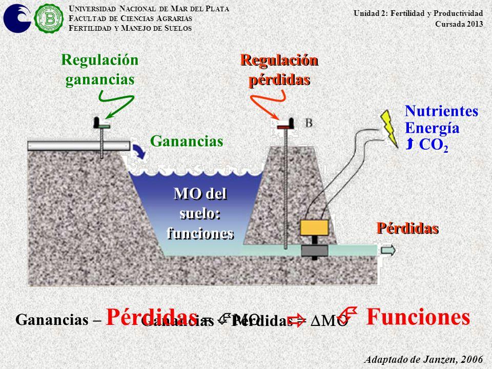 Ganancias – Pérdidas = Adaptado de Janzen, 2006 Regulación ganancias Pérdidas Ganancias Regulación pérdidas MO del suelo: funciones U NIVERSIDAD N ACI