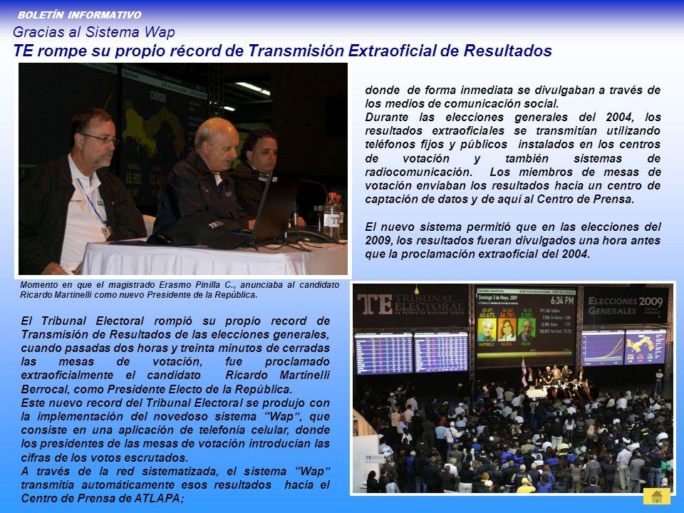 Gracias al Sistema Wap TE rompe su propio récord de Transmisión Extraoficial de Resultados El Tribunal Electoral rompió su propio record de Transmisió