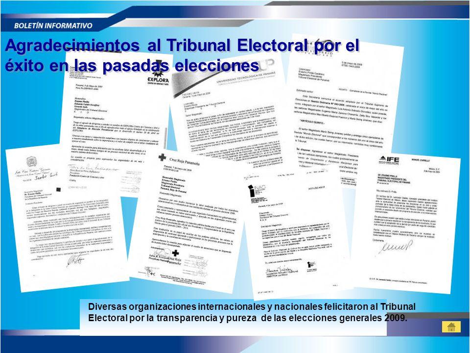 Agradecimientos al Tribunal Electoral por el éxito en las pasadas elecciones Agradecimientos al Tribunal Electoral por el éxito en las pasadas eleccio