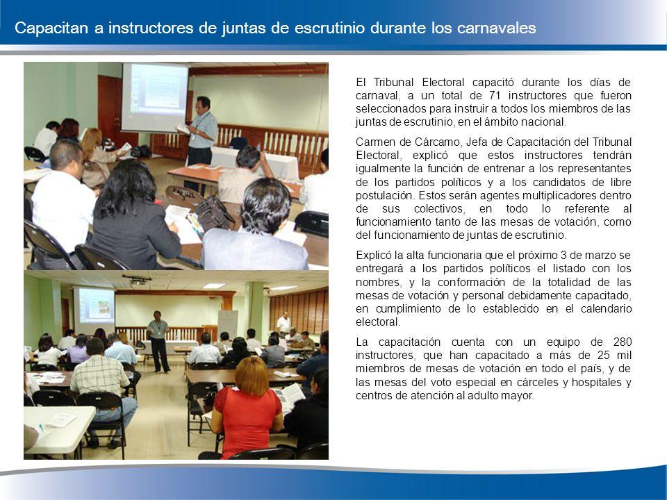 El Tribunal Electoral capacitó durante los días de carnaval, a un total de 71 instructores que fueron seleccionados para instruir a todos los miembros