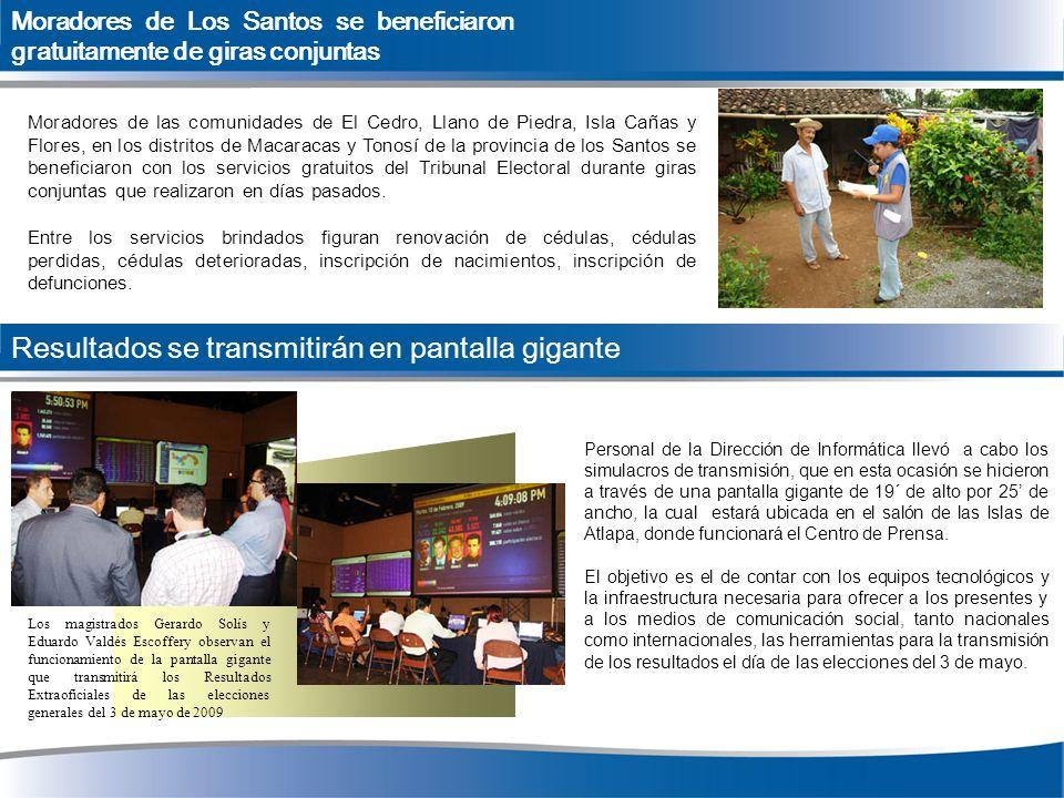 Moradores de Los Santos se beneficiaron gratuitamente de giras conjuntas Moradores de las comunidades de El Cedro, Llano de Piedra, Isla Cañas y Flore