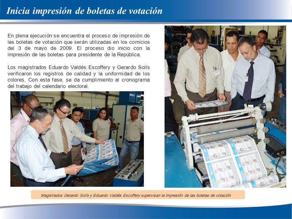 Inicia impresión de boletas de votación En plena ejecución se encuentra el proceso de impresión de las boletas de votación que serán utilizadas en los