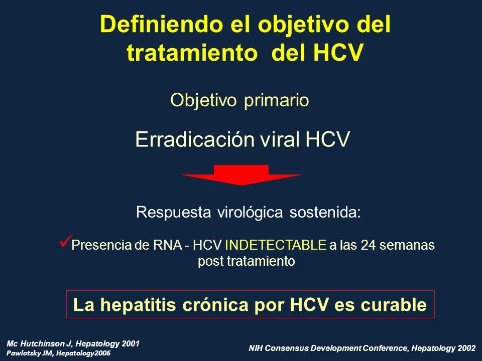 Definiendo el objetivo del tratamiento del HCV Objetivo primario Erradicación viral HCV Respuesta virológica sostenida: Presencia de RNA - HCV INDETEC