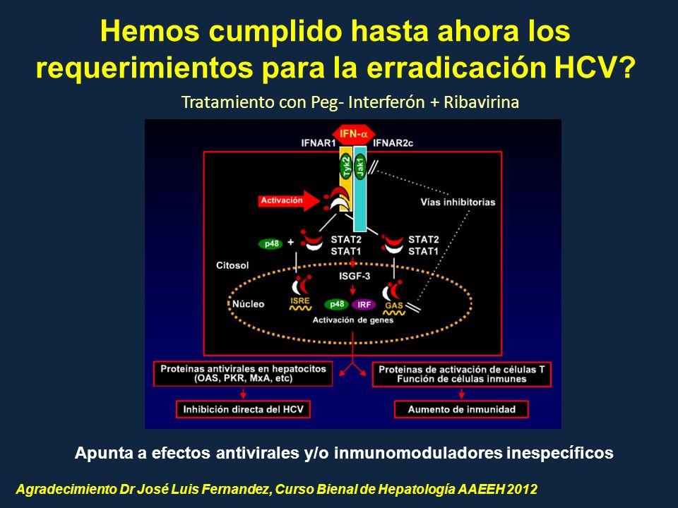 Apunta a efectos antivirales y/o inmunomoduladores inespecíficos Hemos cumplido hasta ahora los requerimientos para la erradicación HCV? Agradecimient