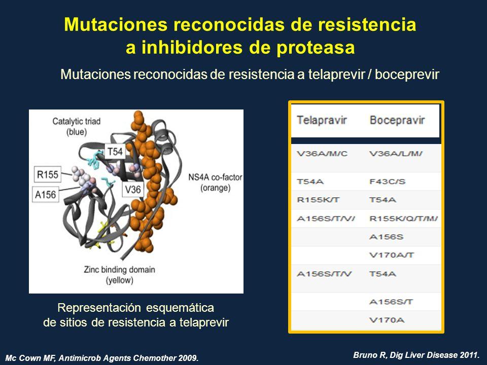 Mutaciones reconocidas de resistencia a inhibidores de proteasa Mutaciones reconocidas de resistencia a telaprevir / boceprevir Representación esquemá