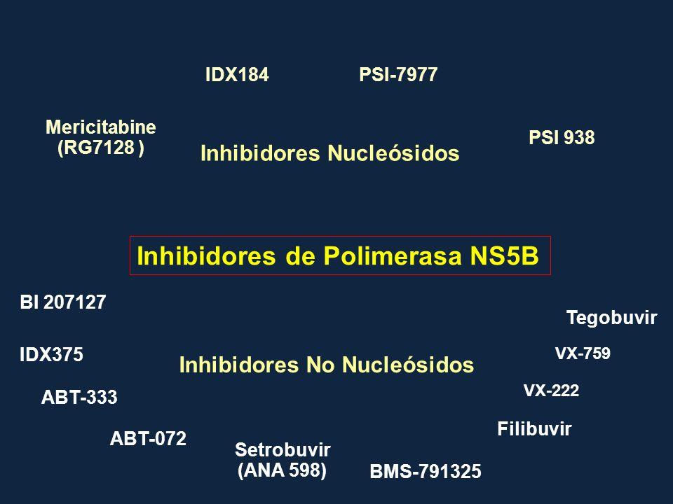 Inhibidores de Polimerasa NS5B Inhibidores Nucleósidos Mericitabine (RG7128 ) VX-759 BI 207127 Inhibidores No Nucleósidos PSI 938 PSI-7977IDX184 IDX37