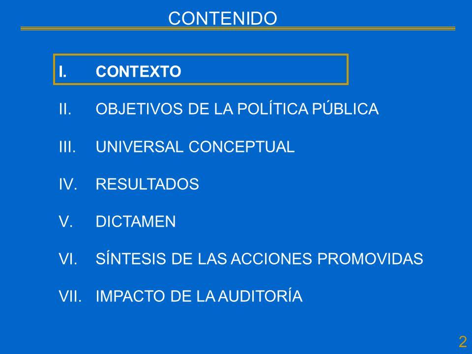 23 CONTENIDO I.CONTEXTO II.OBJETIVOS DE LA POLÍTICA PÚBLICA III.UNIVERSAL CONCEPTUAL IV.RESULTADOS V.DICTAMEN VI.SÍNTESIS DE LAS ACCIONES PROMOVIDAS VII.IMPACTO DE LA AUDITORÍA