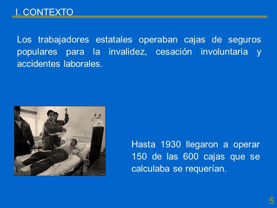 5 I. CONTEXTO Los trabajadores estatales operaban cajas de seguros populares para la invalidez, cesación involuntaria y accidentes laborales. Hasta 19